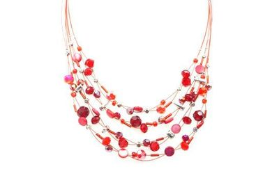 Collier IKITA multiples perles cables rouges