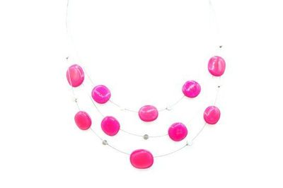 Collier IKITA plateaux émail rose cables