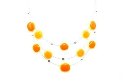 Collier IKITA multi ellipses orange cables