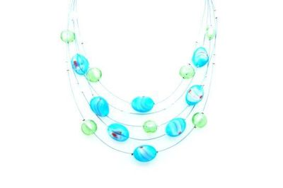 Collier IKITA perles vertes turquoises cables
