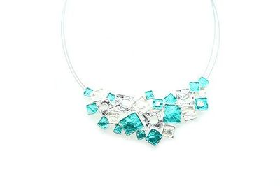 Collier IKITA multiples carreaux blancs turquoises