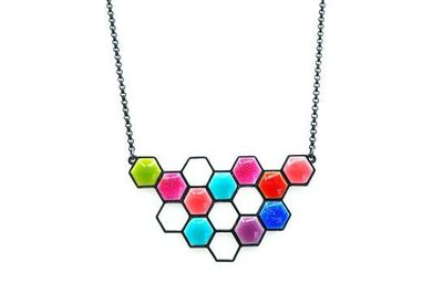 Collier IKITA nid abeille émail multicolore