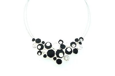 Collier IKITA bulles blanches noires