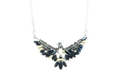 Collier IKITA aigle strass noirs blancs