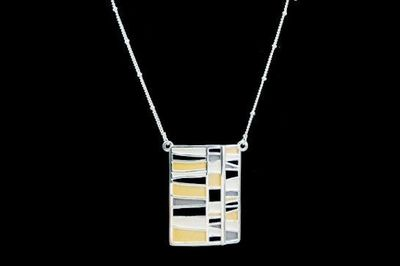 Collier IKITA rectangle beige blanc