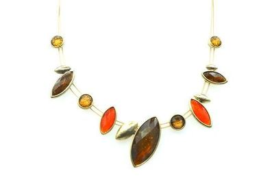 Collier IKITA amandes oranges cables bronze