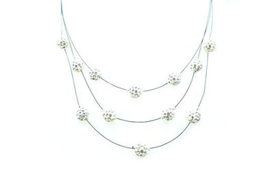 Collier IKITA boules blanches strass cables
