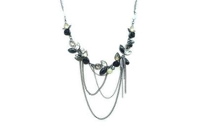 Collier IKITA pierres noires blanches cascade chainettes