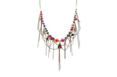 Collier IKITA perles grenats chainettes