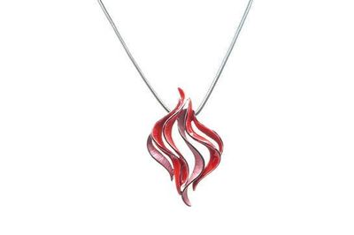Collier IKITA flamme émail rouge