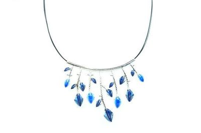 Collier IKITA feuillage argent bleu cables