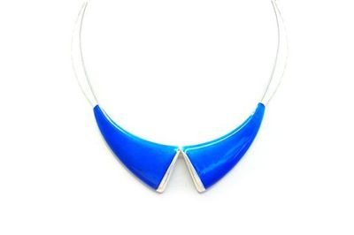 Collier IKITA col bleu cables argent