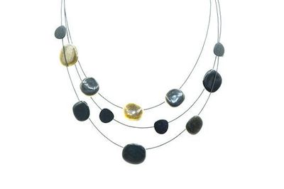 Collier IKITA 3 cables plateaux noirs