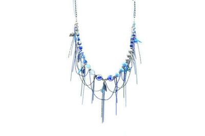 Collier IKITA perles chainettes bleues