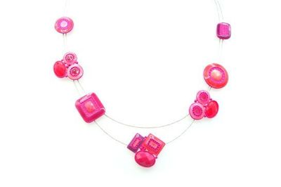Collier IKITA formes fuchsia émail cables