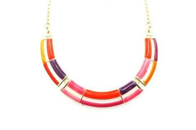Collier IKITA multi arc émail camaieu rouge