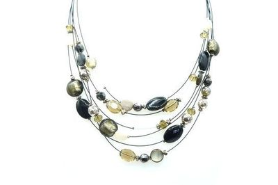 Collier IKITA multi cables perles noires