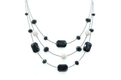 Collier IKITA pierres noires boules strass