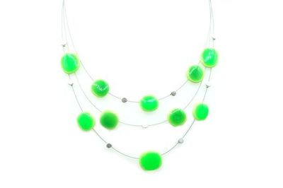 Collier IKITA rectangles arrondis verts cables