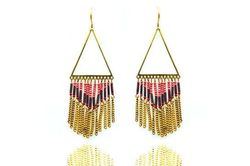 Boucles d'oreilles IKITA triangles bronze chainettes