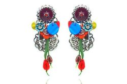 Boucles d'oreilles IKITA rosace anthracite perles rouges