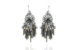 Boucles d'oreilles IKITA perles anthracite chainettes