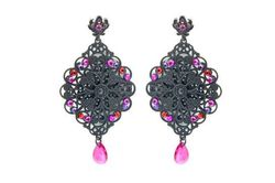 Boucles d'oreilles IKITA losanges noirs strass rouge rose