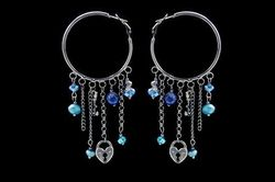 Boucles d'oreilles IKITA anneaux anthracites chainettes perles