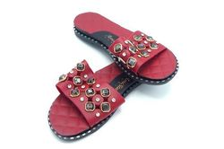 Sandales grenat strass sombres - Taille: 38