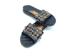 Sandales noires strass sombres - Taille: 38