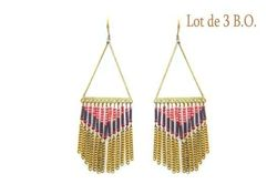 Boucles d'oreilles Ikita triangles bronzes chainettes perles x 3 pcs