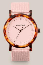 Montre Mr BOHO  Acétate de couleur Rose 55 AC2, Diamtètre 38 mm