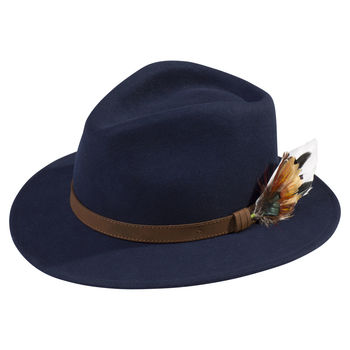 Navy Richmond unisex felt hat