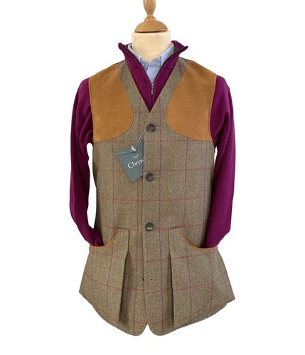 Gilet tweed Moorland pink red