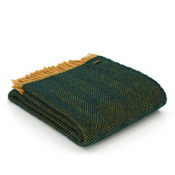 Lifestyle herringbone Emerald/mustard throw