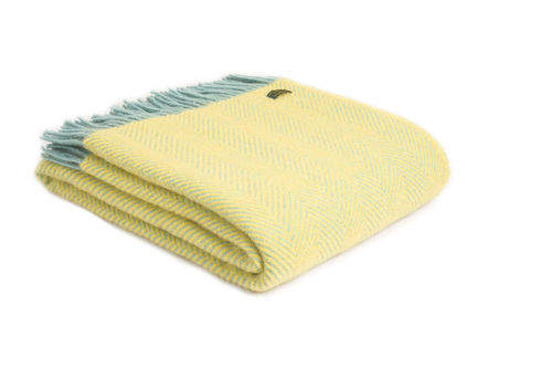 Lifestyle herringbone Lemon/ocean throw