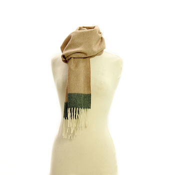 Rolled fringe Herringbone soft brown scarf