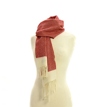 Rolled fringe Herringbone red apple scarf