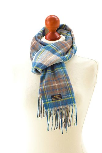 Rolled fringe Blue dress stewart scarf
