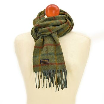 Country check Sage scarf