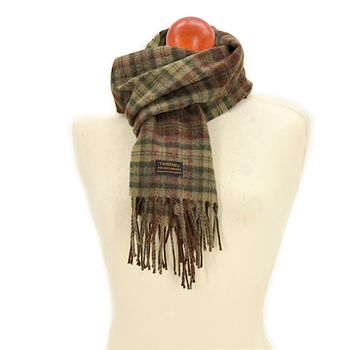 Country check Olive scarf