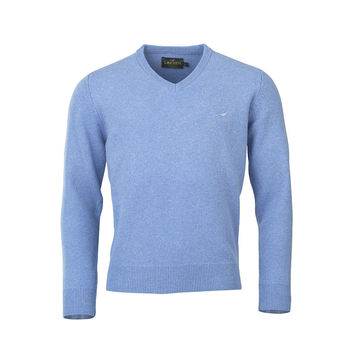 Johnston v-neck sky knitwear