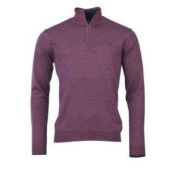 Norfolk 1/4 zip knitwear HEATHER