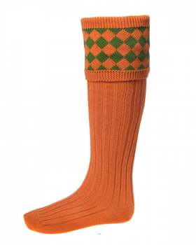 Chaussettes CHESSBOARD burnt orange ivy green