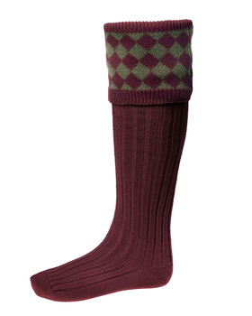 Chessboard socks burgundy moss