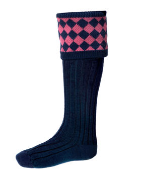 Chessboard socks navy pink