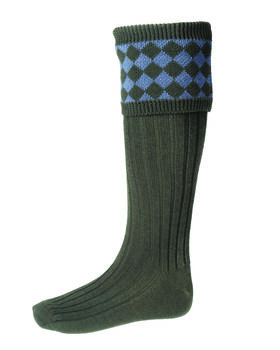 Chessboard socks spruce blue mix