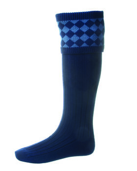 Chessboard socks navy ancient blue