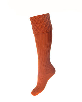 Lady rannoch breeks burnt orange socks