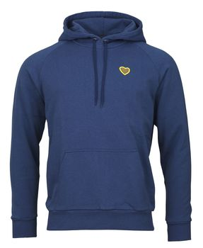 Hoodie sweat heart badge slate blue